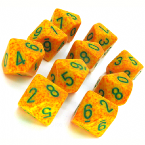 Yellow & Orange 'Lotus' Speckled D10 Ten Sided Dice Set
